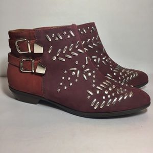 Schutz Burgundy/red two-shade studded ankle boots